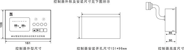 控制器对两路电源的各相电压同时进行在线检测,当电源电压低于额定电压的70-80%时, 控制器经过比较判断,将检测结果直接送到控制器面板上LCD显示出来,并通过延时电路 延时后向电操机构发出切换指令. 对于自投自复的切换装置,其控制功能见表1:在自动控制状态下,在电源正常时应由常用电源供电,当常用电源出现异常(任意一相发生欠压或缺相)时,经一定的延时后自动切换至备用电源供电;当常用电源恢复正常后,经一定的延时后自动返回到常用电源供电;如果正在使用的电源出现异常时,控制器将发出报警声,以提示操作人员及时修复,